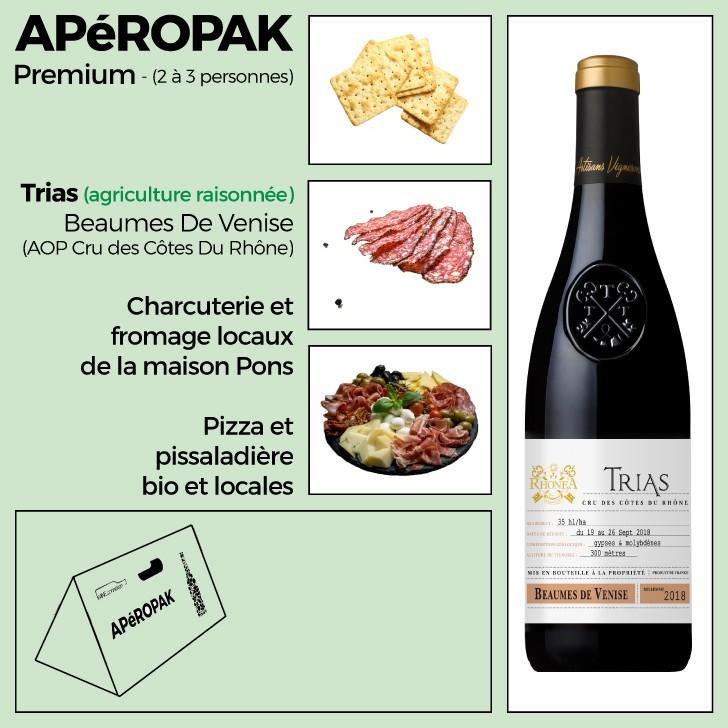 Wine Connexion - Apéropak - Trias AOC Beaumes de Venise - Côtes Du Rhône rouge